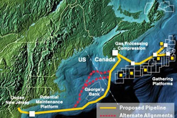 Blue Atlantic Transmission System - Study, Deliver high volumes of natural gas to the northeast United States market from potential natural gas offshore northeast Canada.